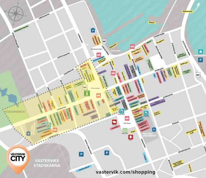 BID Västervik − Kartan visar BID-områdets intressenter och samverkanspartner
